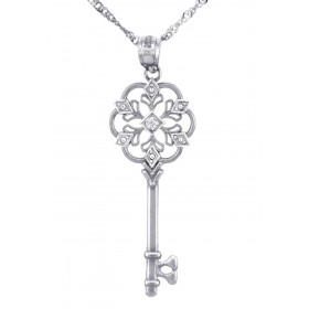 Diamond Valentine Key Pendant Necklace in Sterling Silver