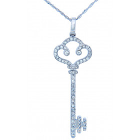 Diamond Valentine Old-Fashioned Key Pendant Necklace in 9ct White Gold