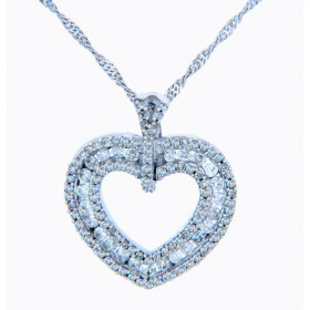 Diamond Valentine Regal Heart Pendant Necklace in 9ct White Gold