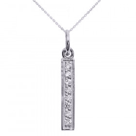 Diamond Vertical Bar Pendant Necklace in 9ct White Gold