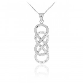 Diamond Vertical Double Infinity Pendant Necklace in 9ct White Gold