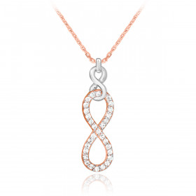 Diamond Vertical Infinity Pendant Necklace in 9ct Two-Tone Gold