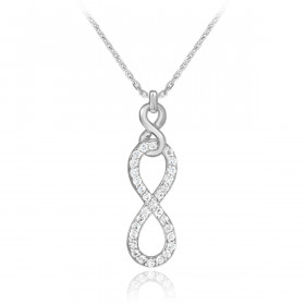 Diamond Vertical Infinity Pendant Necklace in 9ct White Gold