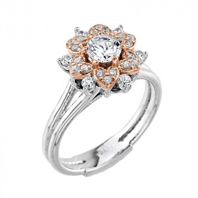 0.35ct Diamond Vintage Engagement Ring in 9ct White Gold