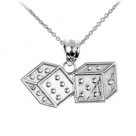 Dice Charm Pendant Necklace in 9ct White Gold