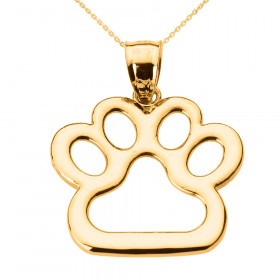 Dog Pawprint Charm Pendant Necklace in 9ct Gold