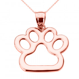 Dog Pawprint Charm Pendant Necklace in 9ct Rose Gold