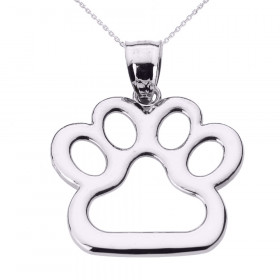 Dog Pawprint Charm Pendant Necklace in 9ct White Gold