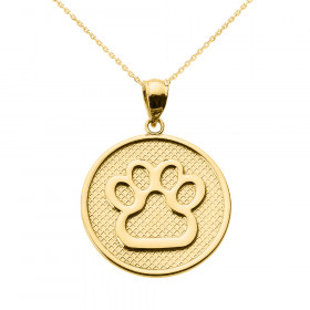 Dog Pawprint Disc Charm Pendant Necklace in 9ct Gold
