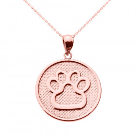 Dog Pawprint Disc Charm Pendant Necklace in 9ct Rose Gold