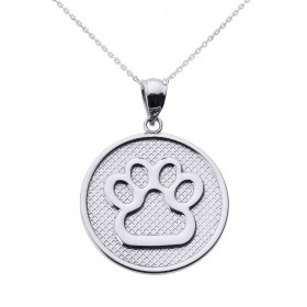 Dog Pawprint Disc Charm Pendant Necklace in 9ct White Gold