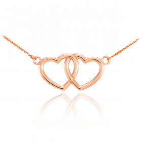 Double Heart Pendant Necklace in 9ct Rose Gold