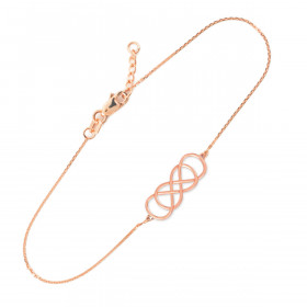 Double Knot Infinity Bracelet in 9ct Rose Gold