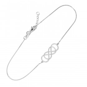 Double Knot Infinity Bracelet in 9ct White Gold