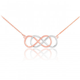 Double Knot Infinity Pendant Necklace in 9ct Two-Tone Gold