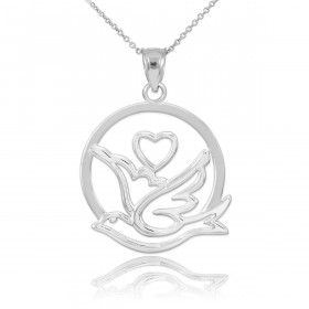 Dove Heart Charm Pendant Necklace in 9ct White Gold