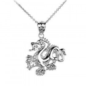 Dragon Charm Pendant Necklace in 9ct White Gold