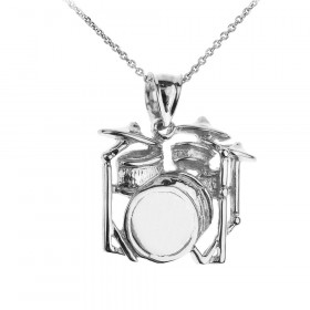Drum Set Pendant Necklace in 9ct White Gold