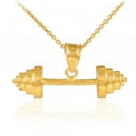 Dumbbell Charm Pendant Necklace in 9ct Gold