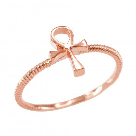 Egyptian Ankh Cross Ring in 9ct Rose Gold