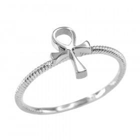 Egyptian Cross Ring in 9ct White Gold