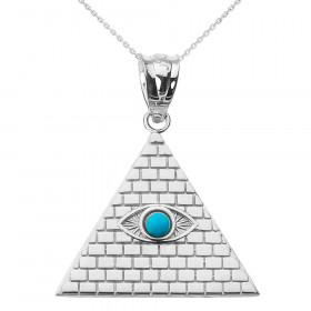0.05ct Egyptian Pyramid Evil Eye Pendant Necklace in 9ct White Gold