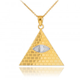 Egyptian Pyramid Eye of Horus Pendant Necklace in 9ct Two-Tone Gold