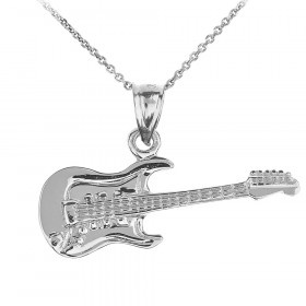 Electric Guitar Pendant Necklace in 9ct White Gold