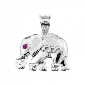 Elephant Pendant Necklace in Sterling Silver