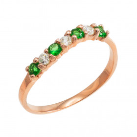 Emerald and CZ Stackable Wavy Ring in 9ct Rose Gold