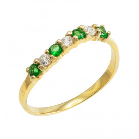 Emerald and CZ Wavy Stackable Ring in 9ct Gold