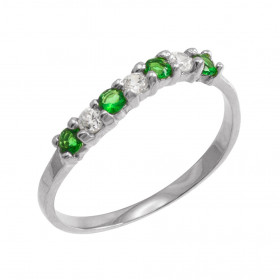 Emerald and CZ Wavy Stackable Ring in 9ct White Gold