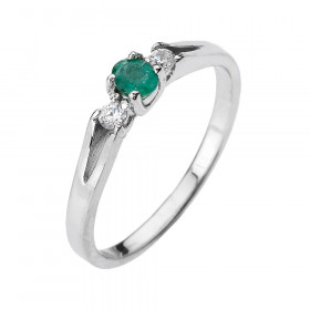 0.15ct Emerald and Diamond Beauty Engagement Ring in 9ct White Gold