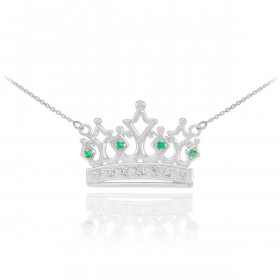 Emerald and Diamond Crown Pendant Necklace in 9ct White Gold