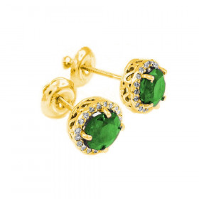 1.2ct Emerald and Diamond Earrings in 9ct Gold