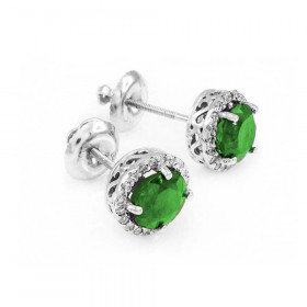 1.2ct Emerald and Diamond Earrings in 9ct White Gold