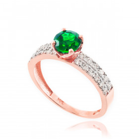 0.24ct Emerald and Diamond Engagement Ring in 9ct Rose Gold