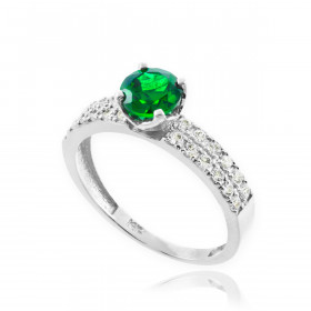 0.24ct Emerald and Diamond Engagement Ring in 9ct White Gold