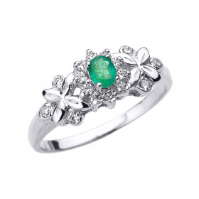 Emerald and Diamond Halo Engagement Ring in 9ct White Gold