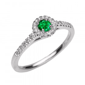 0.25ct Emerald and Diamond Halo Engagement Ring in 9ct White Gold