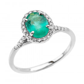 1.0ct Emerald and Diamond Halo Engagement Ring in 9ct White Gold
