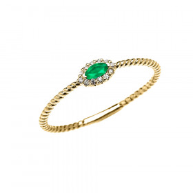 0.06ct Emerald and Diamond Halo Rope Promise Twisted Rope Ring in 9ct Gold