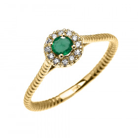 0.08ct Emerald and Diamond Halo Rope Promise Twisted Rope Ring in 9ct Gold