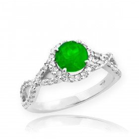 0.6ct Emerald and Diamond Infinity Halo Engagement Ring in 9ct White Gold