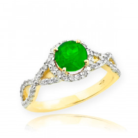 0.6ct Emerald and Diamond Infinity Ring in 9ct Gold