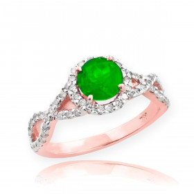 0.6ct Emerald and Diamond Infinity Ring in 9ct Rose Gold