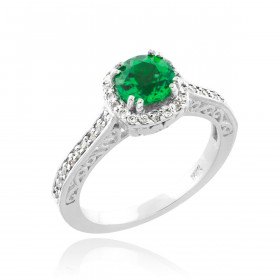 Emerald and Diamond Pave Halo Engagement Ring in 9ct White Gold