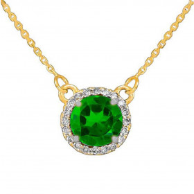 1.0ct Emerald and Diamond Pendant Necklace in 9ct Gold