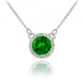 1.0ct Emerald and Diamond Pendant Necklace in 9ct White Gold
