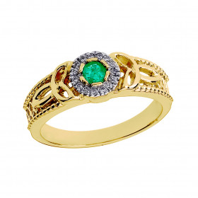 Emerald and Diamond Trinity Knot Ring in 9ct Gold